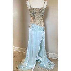 Jovani Sequin Gown Light Blue/Nude